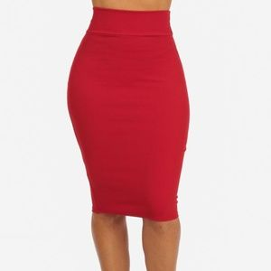 High Waisted Red Pencil Skirt